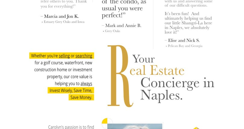 Carolyn Properties client testimonials as seen in the October edition of Best of The Oaks Magazine