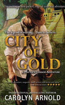 City of Gold by Carolyn Arnold panting of the legendary city of gold with waterfalls and greenery
