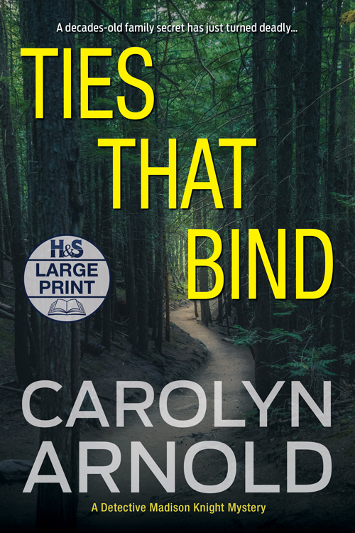 Ties that Bind Large Print Edition by Carolyn Arnold jogger's feet on asphalt surface with police tape over it faded over an image of a check pattern tie