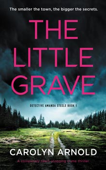 The Little Grave by Carolyn Arnold, a dark stormy sky over a clearing in the woods with a stretch of barbed wire in the foreground with a red ribbon tied to it