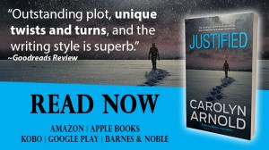 Justified by Carolyn Arnold Read Now, a silhouette of a man walking away leaving footprints in the snow at night