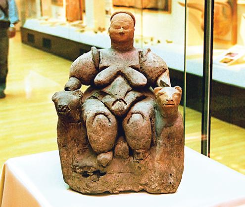 Mother Goddess from Çatal Hüyük, Turkey,  neolithic age, about 5500-6000 BCE