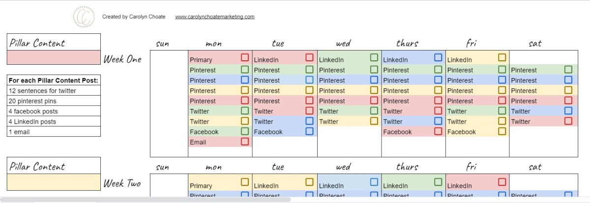 Picture of the repurposing content spreadsheet I created