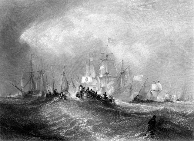Prince of Orange Landing at Torbay by engraving by William Miller after J M W Turner