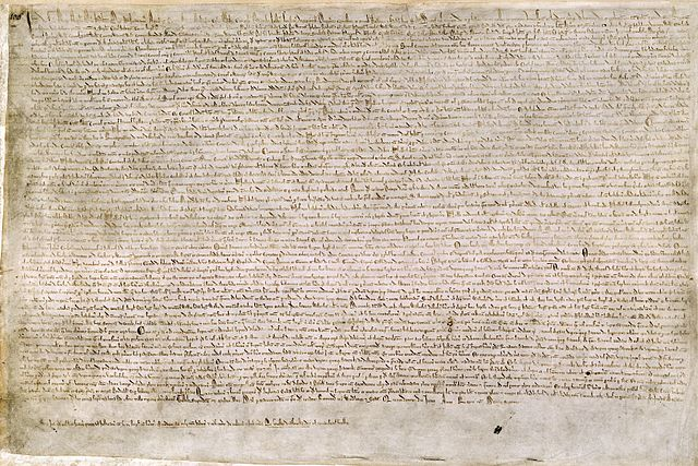 The Magna Carta, signed by John of England