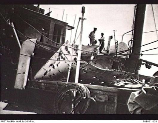 Damage aboard the Hospital ship Manunda. Source: Australian War Memorial