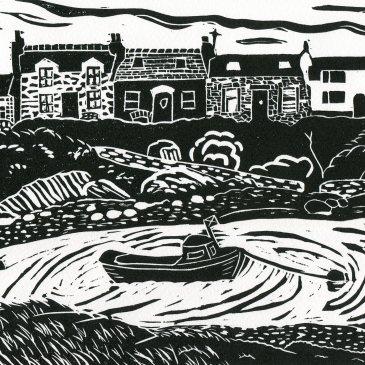 Image of artist Carolyn Murphy's black & white linocut print 'Portnahaven'