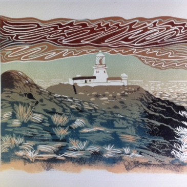 Image of a linocut by Carolyn Murphy called Strumble Head Lighthouse