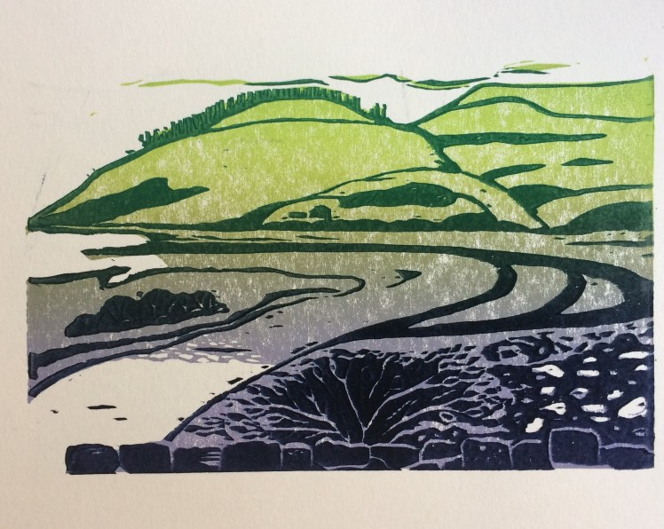 Image of Carolyn Murphy's 20:20 print exchange linocut called 'Meandering'
