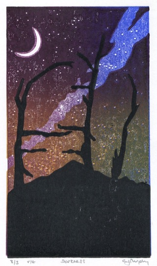 Image of a linocut called 'Darkness' by Carolyn Murphy which is part of the Bury exhibition