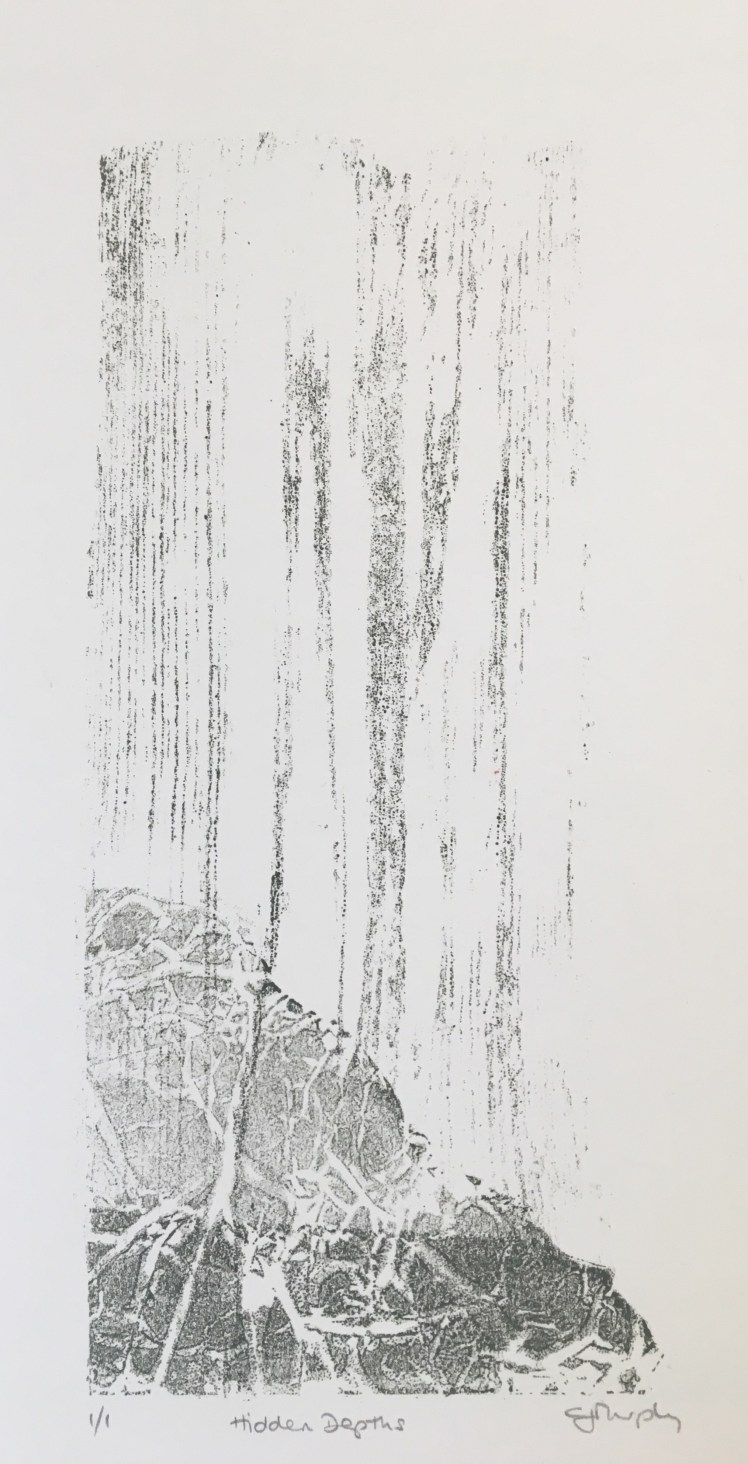 Image of the selected semi-abstract monoprint by Carolyn Murphy