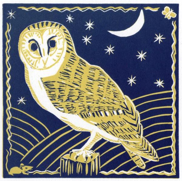 Image of the blue version of Carolyn Murphy's 'Barn Owl' linocut