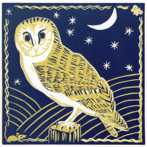 Image of the blue version of Carolyn Murphy's 'Barn Owl' linocut