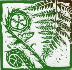 Image of Fern 2 original linocut by Carolyn Murphy