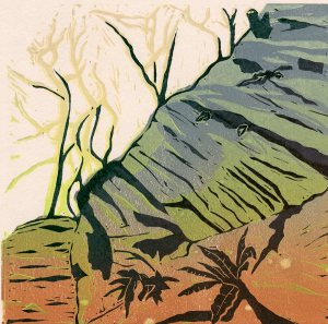 Image of a linocut by artist Carolyn Murphy called 'Into The Woods'