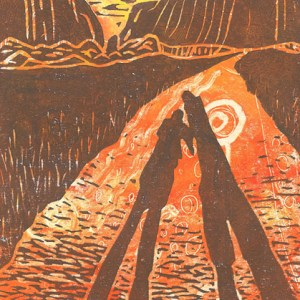 Image of Carolyn Murphy's linocut of the Kata Tjuta hills in Australia