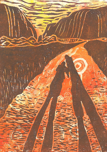 Image of Carolyn Murphy's linocut of the Kata Tjuta hills in Australia