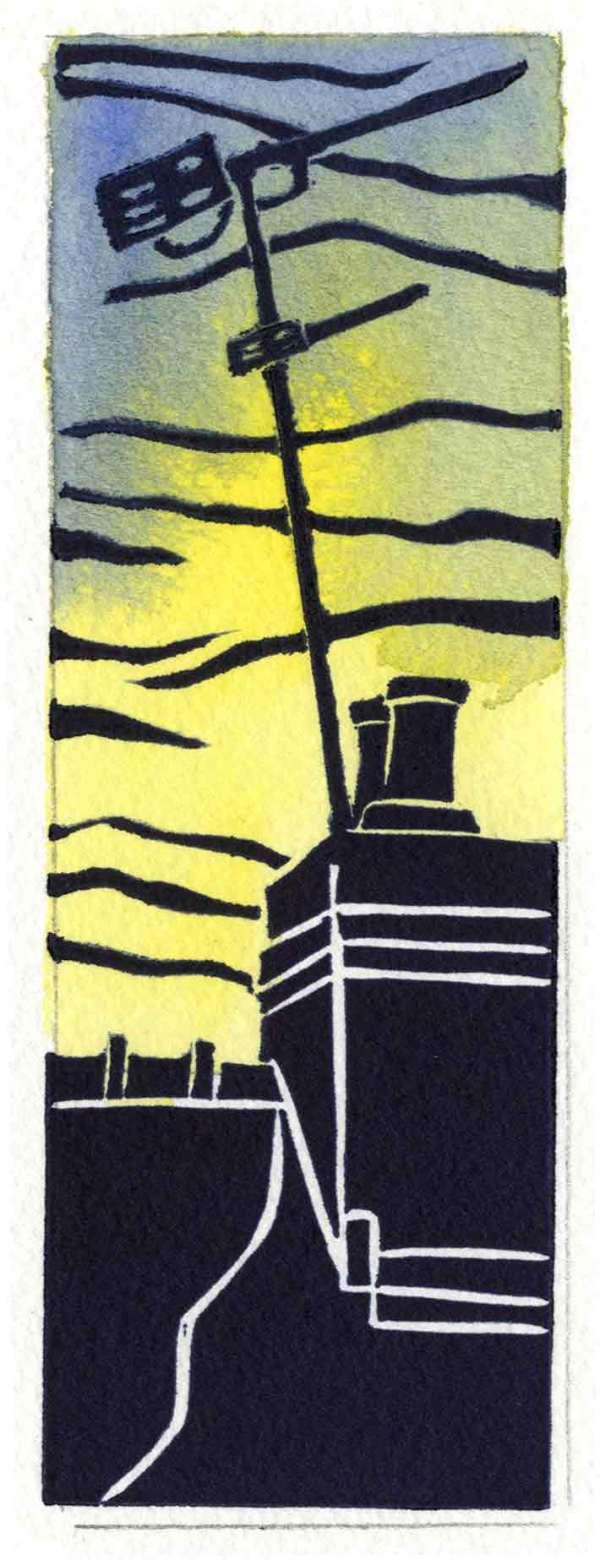 Image of Carolyn Murphy's Rooftop linocut in yellow / blue version