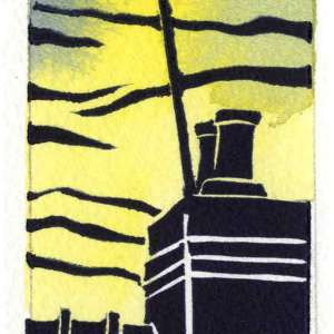 Image of Carolyn Murphy's Rooftop linocut in yellow / blue version