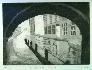 Image of Carolyn Murphy's original etching of Bridgewater Canal in Manchester