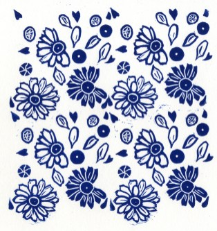 Image of Daisy repeat design linocut in blue by Carolyn Murphy