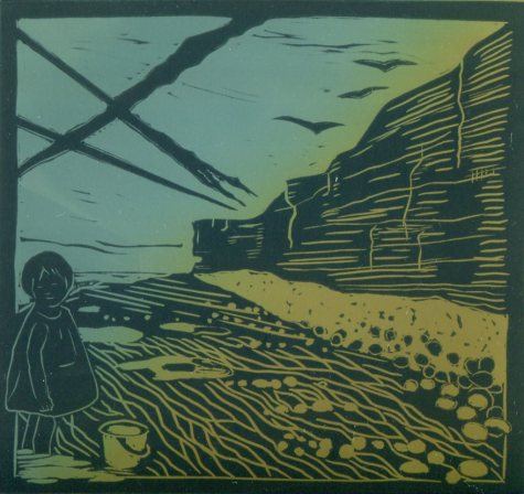 Image of an original linocut by Carolyn Murphy called 'Distant Pebbles'