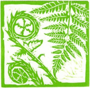 Image of an original Fern linocut by artist Carolyn Murphy