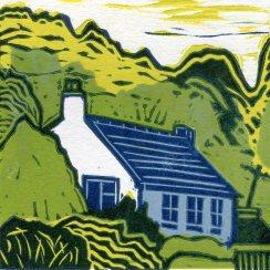 Image of linocut 'Hideaway' by Carolyn Murphy depicting a cottage hidden in trees