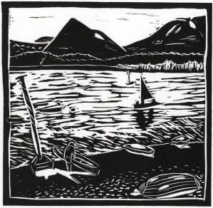 Image of artist Carolyn Murphy's linocut of Loch Morlich