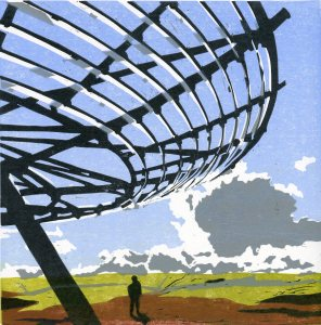 Image of 'Halo' original linocut by artist Carolyn Murphy