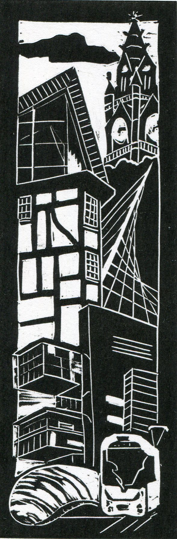 Image of 'Manchester Old & New III', an original linocut by artist Carolyn Murphy