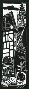 Image of 'Manchester Old & New III', an original linocut by artist Carolyn Murphy