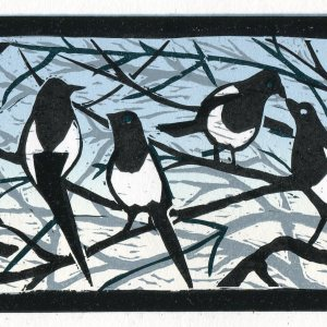 Image of 'Never to be Told', an original linocut by artist Carolyn Murphy