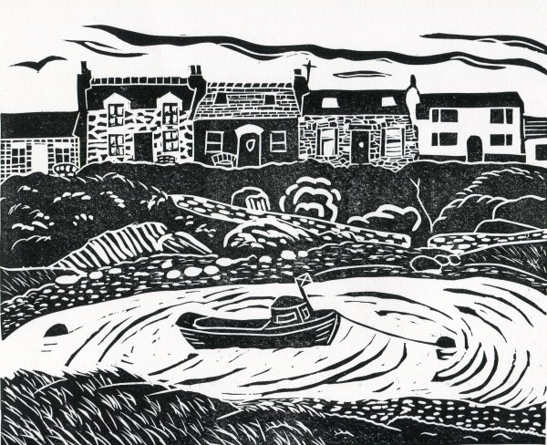 Image of 'Portnahaven', an original linocut by artist Carolyn Murphy
