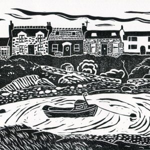 Image of 'Portnahaven', an original linocut by artist Carolyn Murphy