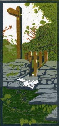 Image of 'This Way', original linocut by artist Carolyn Murphy