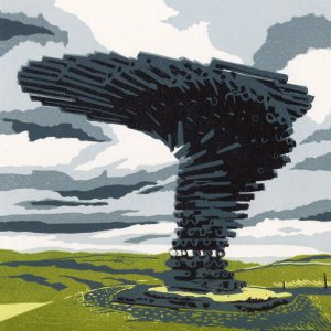 Image of 'Singing Ringing Tree' original linocut by Carolyn Murphy