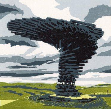 Image of 'Singing Ringing Tree' original linocut by Carolyn Murphy
