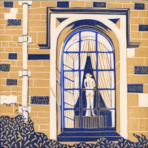 Image of linocut 'Towneley Hall' by Carolyn Murphy