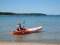 Luke in the kayak on Lake Charlevoix