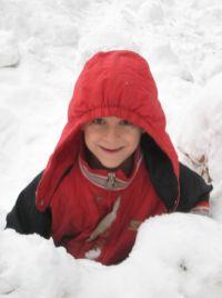 Zack in the snow pile