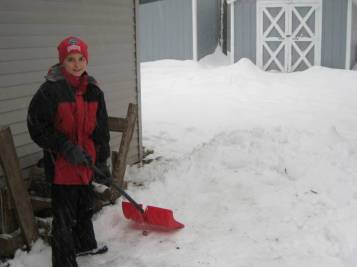 Jacob trying to keep up with the snow