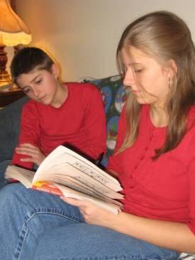 Jacob and Kristi working on a Sudoku