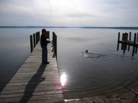 Jacob running his jet ski on the lake
