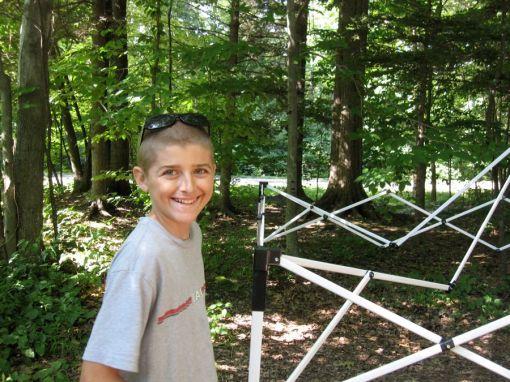 Jake helping set up camp