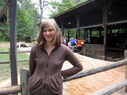 Kristi and a pile of sawdust