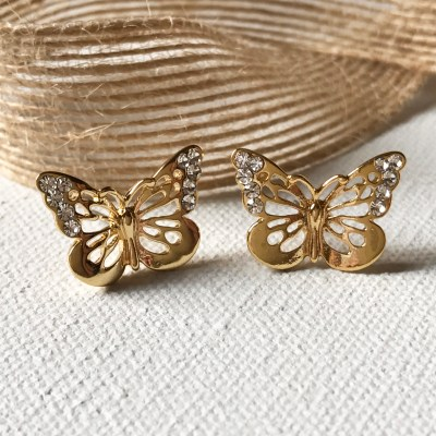 butterfly earrings goldtone
