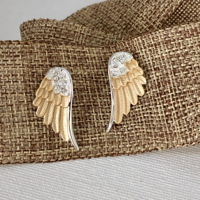 CWY-034 Two tone wing post earrings