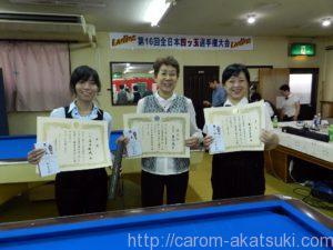 270913第16回全日本レディース入賞者左から3位西田優勝平山2位町田