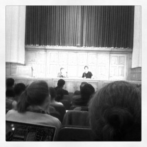 Rachel Maddow speaking at Yale Law School